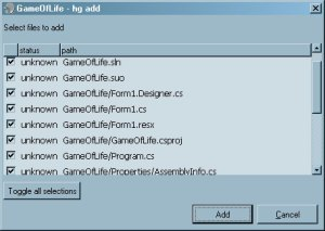Add Files to Hg